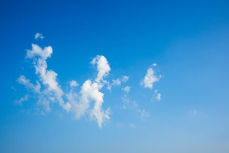 View of beautiful puffy clouds and blue sky