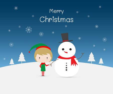 Merry Christmas. Snowman holding a cute girl girl.   イラスト・ベクター素材