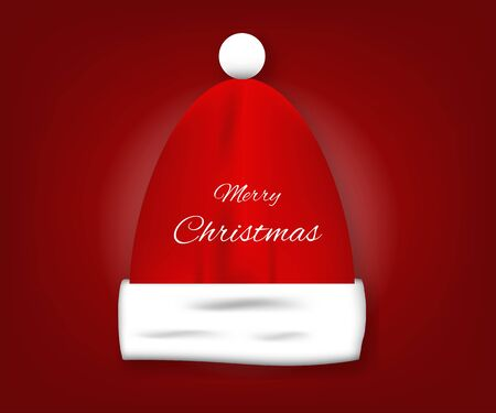 Merry Christmas. A red Santa Claus hat on red background. Banco de Imagens