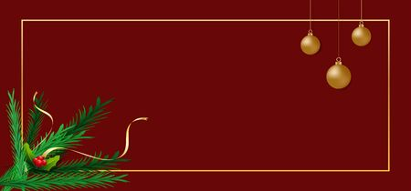 Merry Christmas. Christmas ornaments, green pine leaves and golden ribbons on red background. Standard-Bild - 134627722