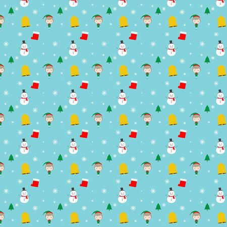Merry Christmas. Seamless pattern of Christmas symbols. Snowman, cute girl, bell, snowflakes, sock and tree on blue background.