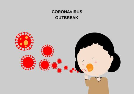Illustration of woman character coughing spreading coronavirus 2019 airborne particles.