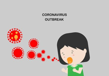Illustration of a girl character wearing green shirt coughing and spreading coronavirus 2019 airborne particles.