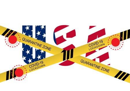 Concept of lockdown United States of America from covid-19 or corona viruses 2019 pandemic outbreak. Yellow tape on USA text. Vector illustration.
