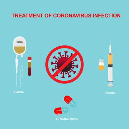 Concepts of coronavirus treatment. Illustration of antiviral drug capsules, vaccine and plasma on blue background.