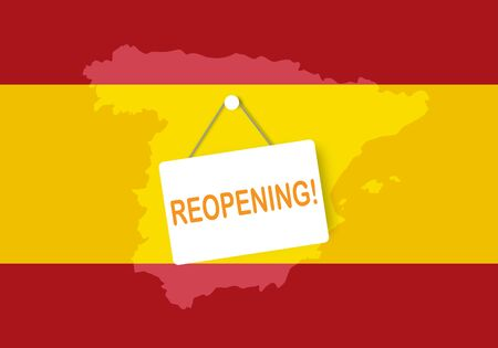 Concepts of reopening Spain after quarantine the country for prevention coronavirus pandemic outbreak. Illustration of Spain flag and open sign