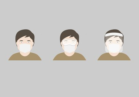 Illustration of male wearing mask, protective eyeglasses and facesield for protection of coronavirus 일러스트