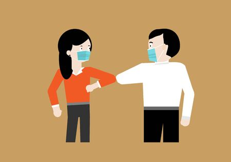 People wearing protective mask greeting by using elbow bump not shaking hand in coronavirus pandemic outbreak. Hand contact increasing risk of infection. Vettoriali