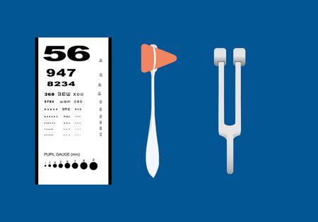 Set of neurological examination instruments including reflex hammer, tuning forks and pocket near vision chart. Illustration