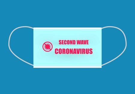 Lettering second wave coronavirus and symbol of stop coronavirus on blue protective mask. Vector illustration.