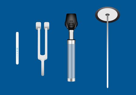 Set of neurological examination instruments including reflex hammer, ophthalmoscope, tuning forks and pen light.
