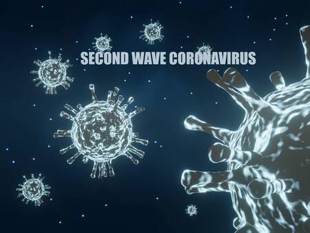 3D rendering illustration second wave coronavirus. Microscopic view of coronavirus on blue background.