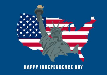 United States happy independence day. Illustration of liberty statue on USA map. Lettering text happy independence day.