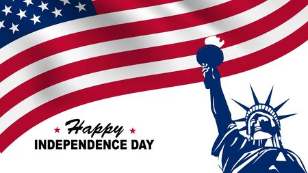 United States happy independence day. Illustration of liberty statue and USA flag. Lettering text happy independence day.