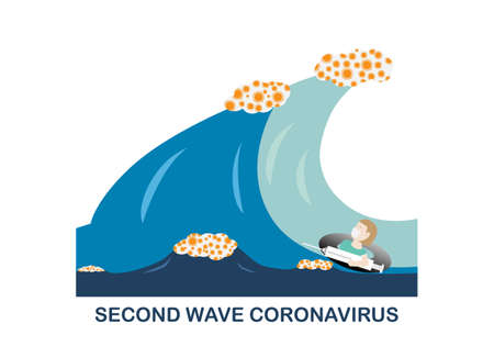 Concepts of second wave coronavirus pandemic outbreak. Illustration of female doctor holding vaccine floating a rubber ring in the sea. Stock Illustratie