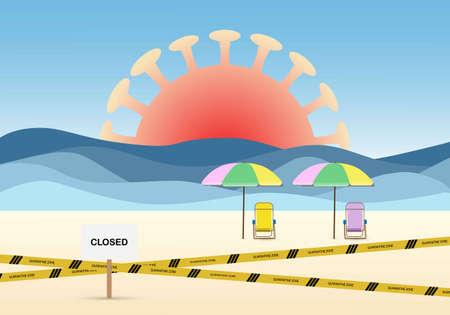 Concept of lockdown the beach due to coronavirus outbreak. Illustration of beach chairs, banner, sea waves, coronavirus and quarantine zone.
