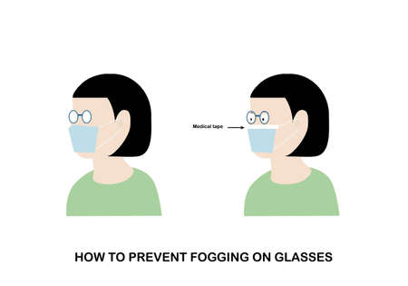 Illustration of how to prevent fogging on protective mask on eyeglasses. Woman wearing hygienic mask with medical tape on.