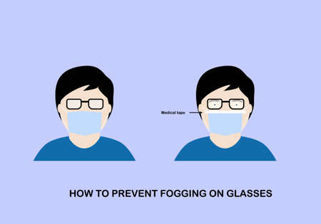 Illustration of how to prevent fogging on protective mask on eyeglasses. Man wearing hygienic mask with medical tape on. Stock Illustratie