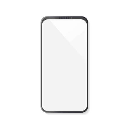 Realistic smartphone with blank screen on white background Stock Illustratie
