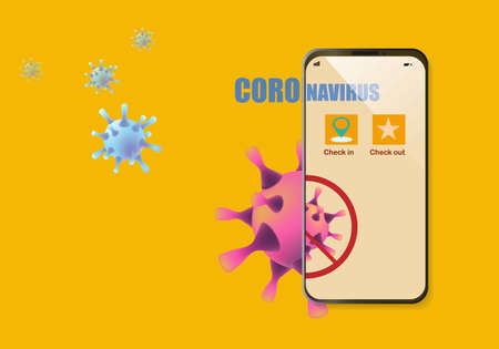 Concepts of application for tracking coronavirus outbreak in smartphone. Check in and out  for location of travelling.