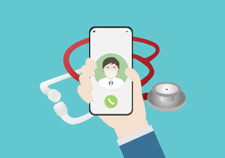 Doctor consultation online by smartphone. Vector illustration of doctor, smartphone and stethoscope.