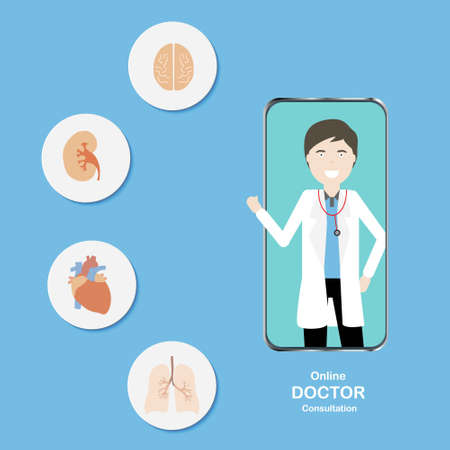 Concepts of online doctor consultation in specialties. Illustration of doctor in smartphone and specialties in cardiology, pulmonary, neurology and nephrology. 免版税图像