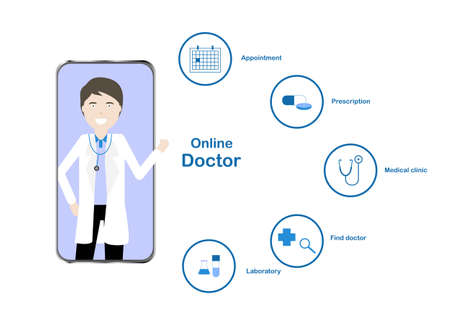 Vector illustration of online doctor application in smartphone. Icon of appointment, prescription, medical clinic, find doctor and laboratory. 免版税图像