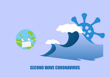 Concept of second wave coronavirus pandemic outbreak. Vector illustration of planet earth wearing face mask and sea wave. Ilustração