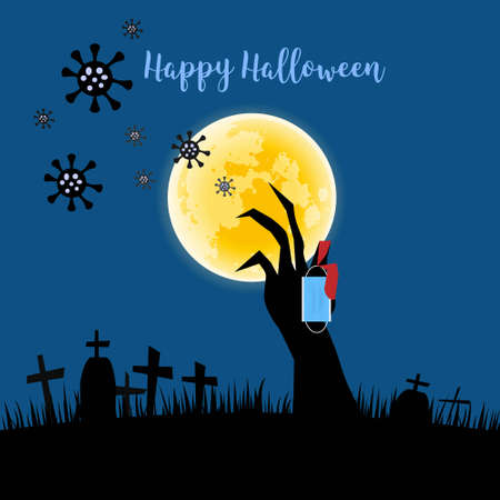 Happy halloween in the day of coronavirus outbreak. Hand holding face mask. Background of cemetary and full moon.