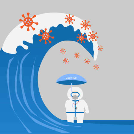 Concept of coronavirus outbreak and vaccine protection. Illustration of doctor holding umbrella and tall wave of coronavirus