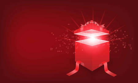 Vector illustration of red giftbox on red background 免版税图像