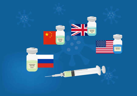 Coronavirus vaccine recently developed from different countries. Illustration of syringe and vaccine bottles, Russia, China, United Kingdom and USA flags.