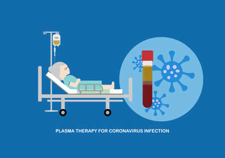 Concept of plasma therapy for coronavirus infection. Vector illustration of female elderly patient treated with plasma on the bed. 矢量图像