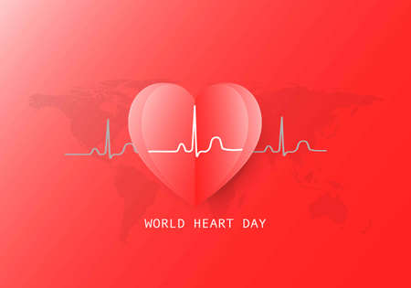 World heart day background. Vector illustration of heart and electrocardiogram on red background. 矢量图像