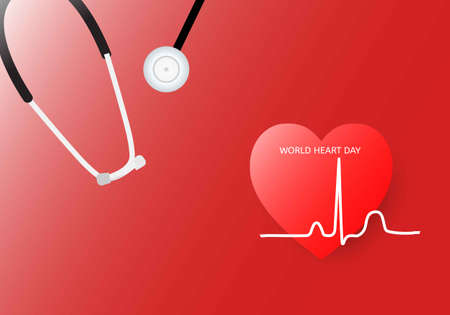 World heart day background. Vector illustration of heart, electrocardiogram and stethoscope on red background.