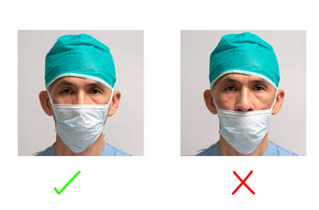 Portrait of Asian senior adult male surgeon demonstrating how to wear mask correctly and incorrectly 免版税图像