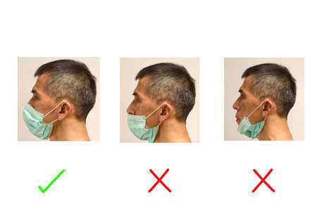 Portrait of Asian senior adult male demonstrating how to wear mask correctly and incorrectly 免版税图像