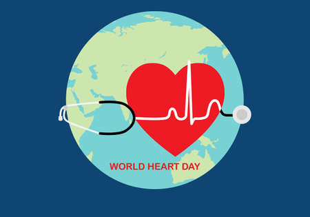 World heart day background. Vector illustration of heart, stethoscope, electrocardiogram on world planet background. 矢量图像