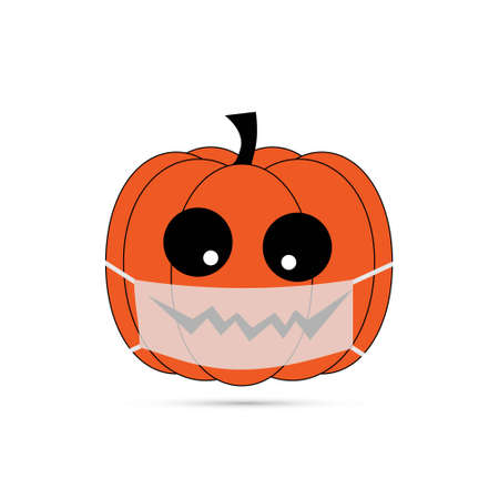 Vector illustration pumpkin wearing face mask for corona virus protection. Concept of new normal halloween.