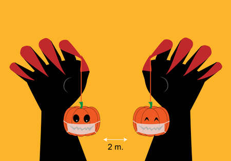 Concepts of new normal halloween. Vector illustration of pumpkins hanging from hands and social distancing.