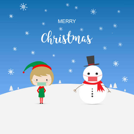 Concept of Christmas and new normal in coronavirus pandemic. Vector illustration of girl and snowman wearing mask and social distancing 矢量图像