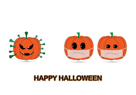 Vector illustration pumpkin wearing face mask for corona virus protection isolated on white background. Concept of new normal halloween.