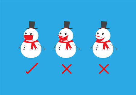 Concepts of how to wear protective mask correctly. Vector illustration of snowman wearing protective hygeinic mask correctly and incorrectly. Illusztráció