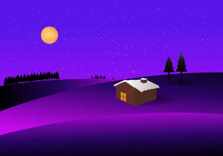 Winter landscape. Vector illustration of wooden hut, snow, full moon, pine trees and mountain.