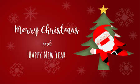 Christmas greeting card. Santa claus wearing face mask in pine tree on red background.