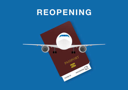 Concept of reopening air transportation after  vaccination. Illustration of airplane, passport and immunization record document or health passport.