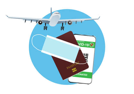 Concepts of reopening airplane travel in new normal  pandemic. Illustration of airplane silhouette,passport, digital vaccine passport identification on mobile phone