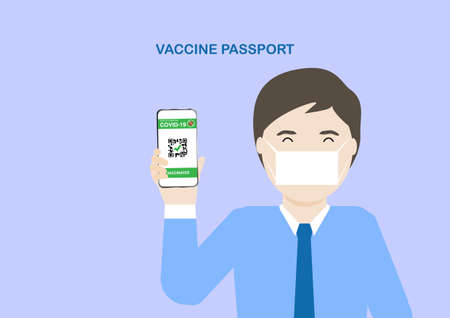 Adult male holding smartphone with digital illustration of vaccine passport after covid-19 vaccination. Travel concept in new normal. Vector illustration.