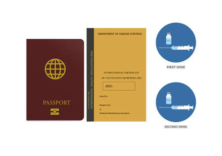 Vaccine passport for travel after two dose of covid-19 vaccination. Illustration of passport, vaccination certificate and covid-19 vaccine. Illusztráció