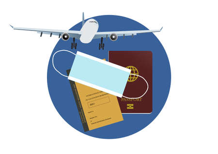 Concepts of reopening airplane travel in new normal and covid-19 pandemic. Illustration of airplane, passport, vaccination certificate and face mask. Vector illustration. Illusztráció